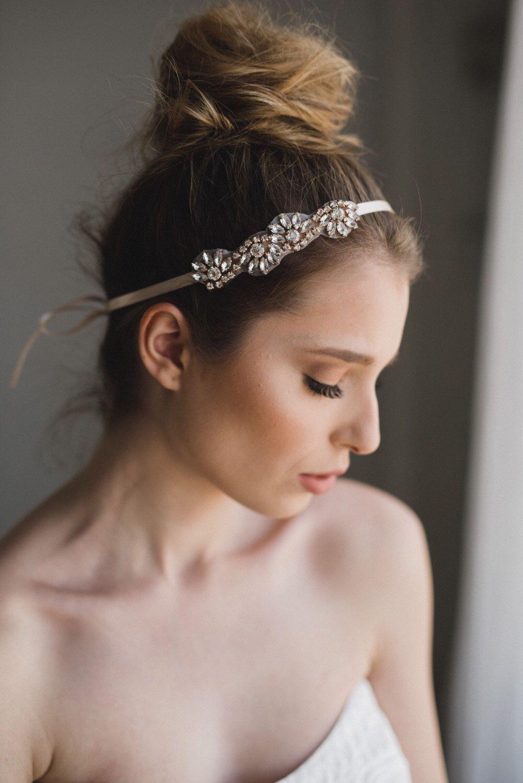 crystal hair piece | rose gold bridal headband | rhinestone wedding