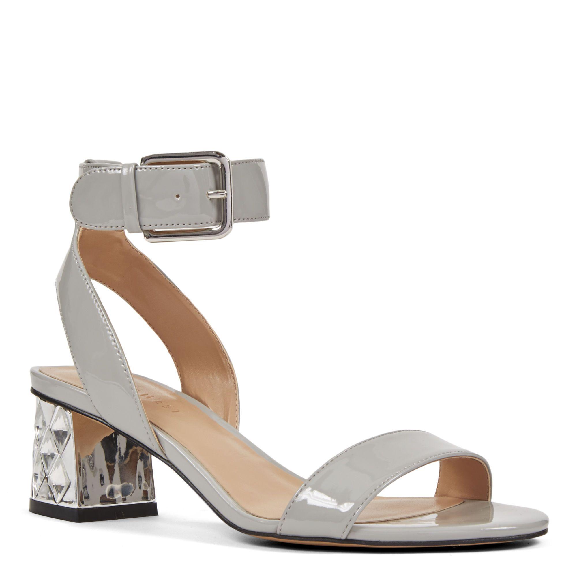 Grey Patent Shineon Open Toe Sandals | Nine West