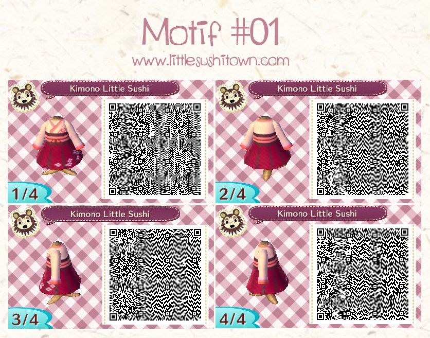 Motif Kimono Little Sushi Qr Code Animal Crossing New Leaf Jpg
