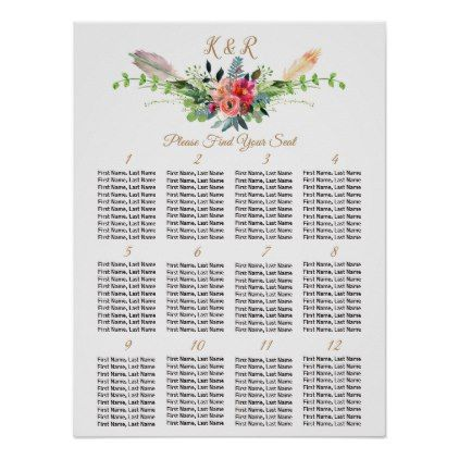 Bohemian Floral  Tables Wedding Seating Chart  Wedding Table