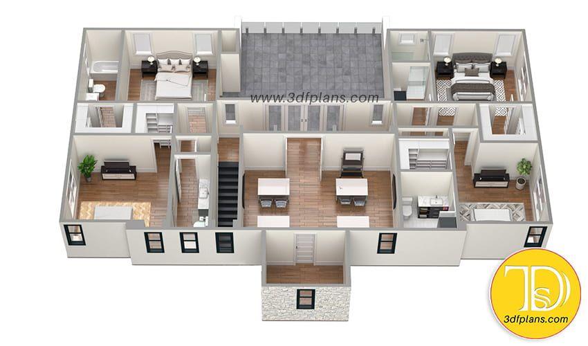 Villa 3d Floor Plan Floor Plans Sims House Design 3d House Plans
