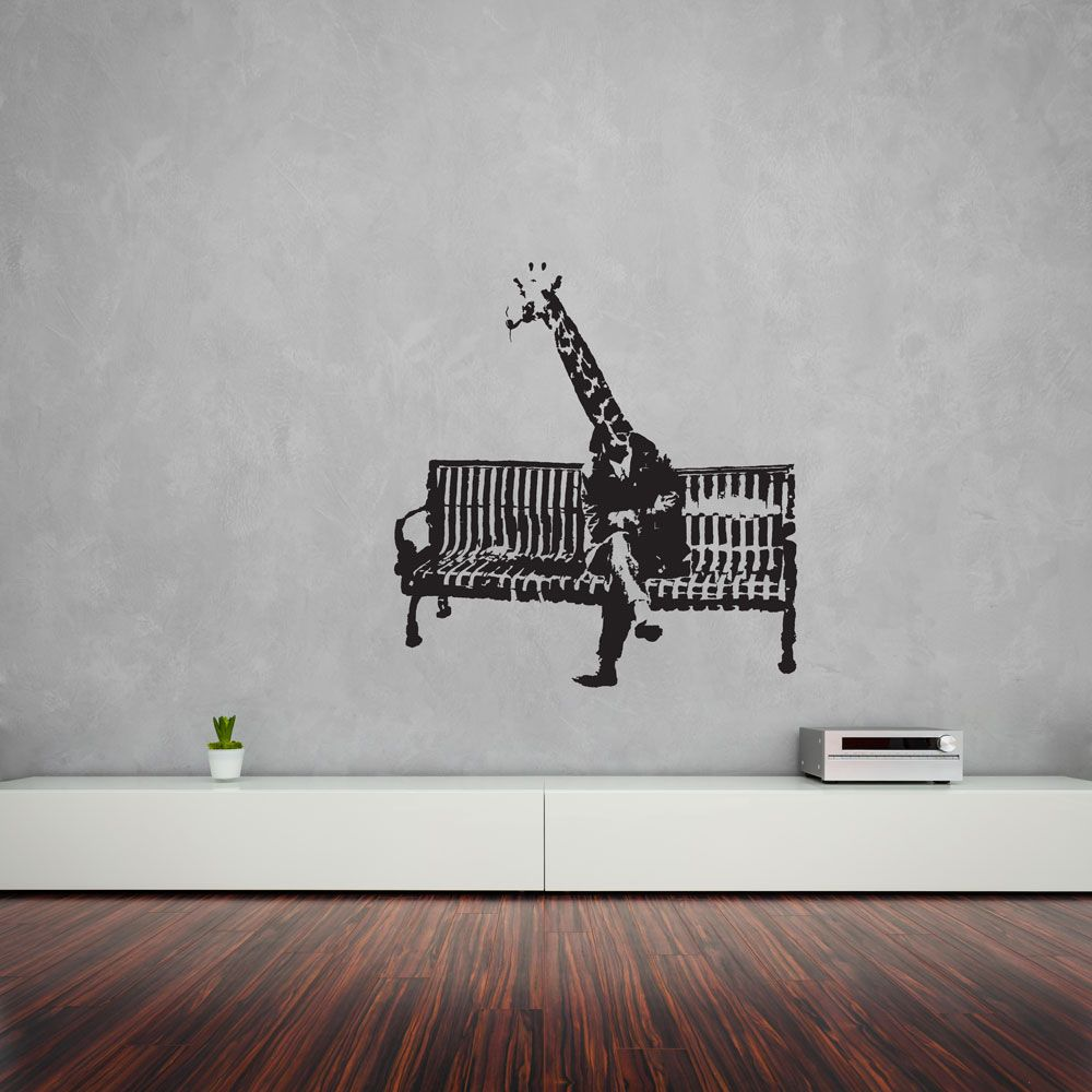 Banksy Giraffe On Bench Vinyl Wall Art Decal #banksy #graffiti #streetart  #design #interiordesign #home #decals #stickers #vinyl #DIY #wallart  #wallstickers ...