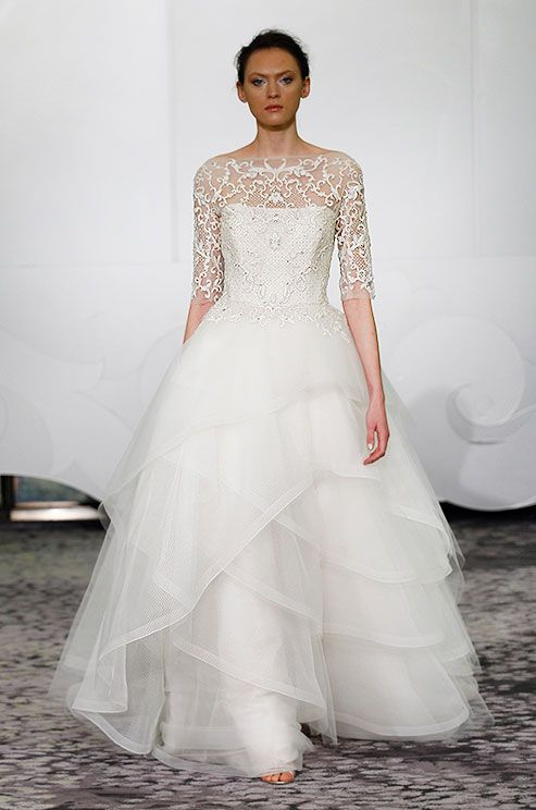3/4 sleeve beaded illusion neckline ball gown with tulip tiered ...