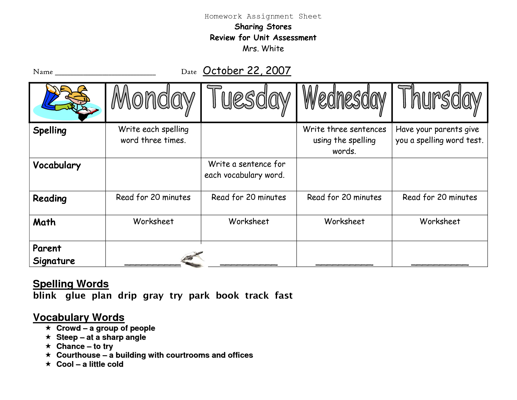 homework sheets for preschoolers | Homework Assignment Sheet ...