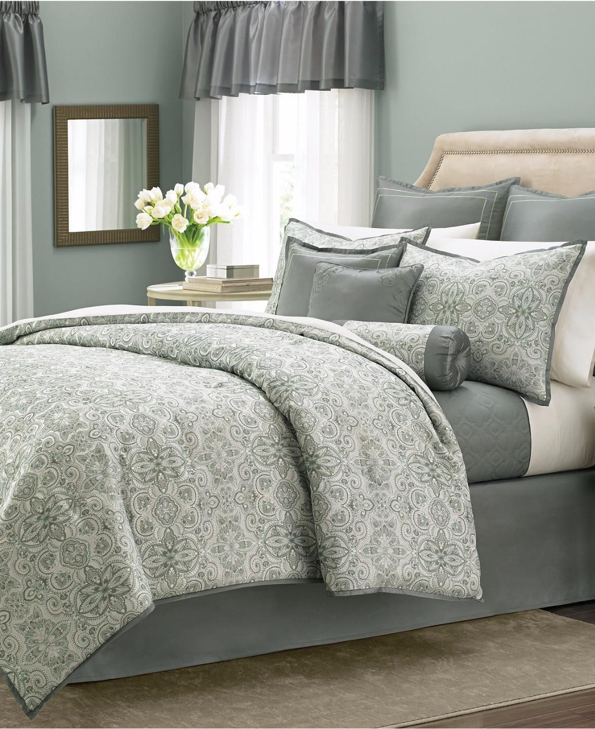 Martha Stewart Collection Regal Filigree 21 Pieces Queen Comforter Set v15  | eBay