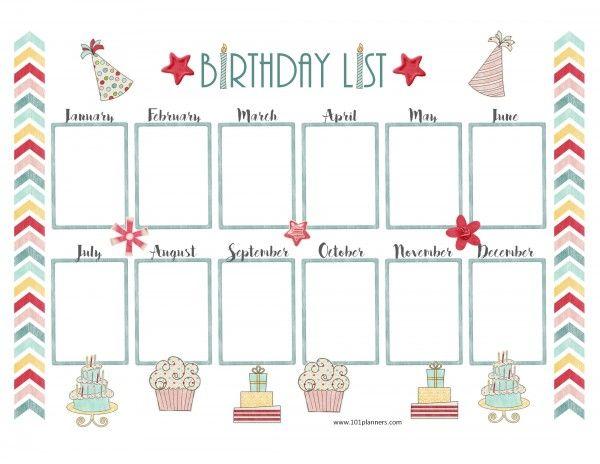 Pretty birthday calendar template First Grade Pinterest - birthday calendar template
