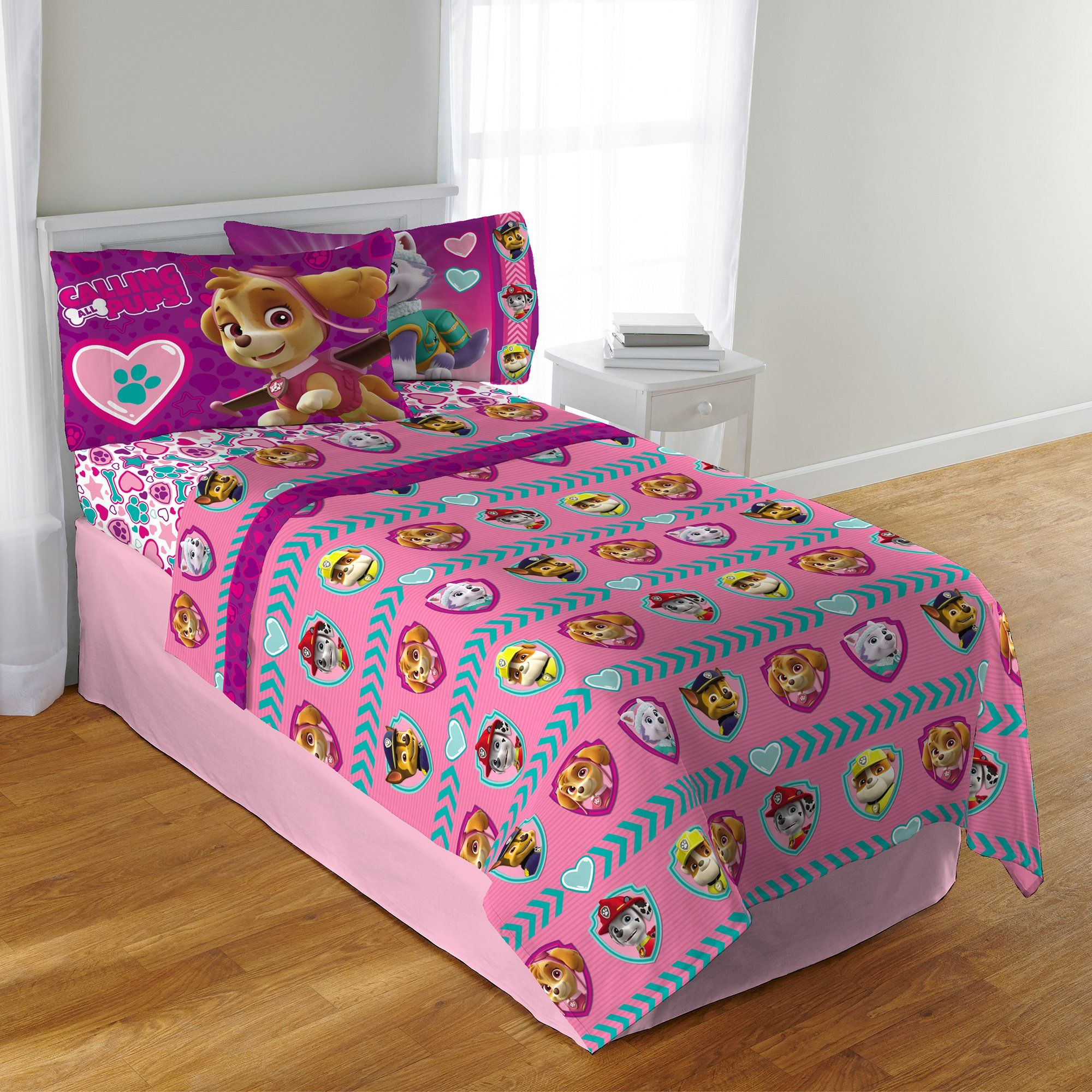 Ca 3 Piece Girls Pink Paw Patrol Sheet Set Twin Sized Cute Teal Blue Puppy Bedding Dogs Skye Sweetie Marshall Rub Twin Sheet Sets Pink Sheets Paw Patrol Sheets