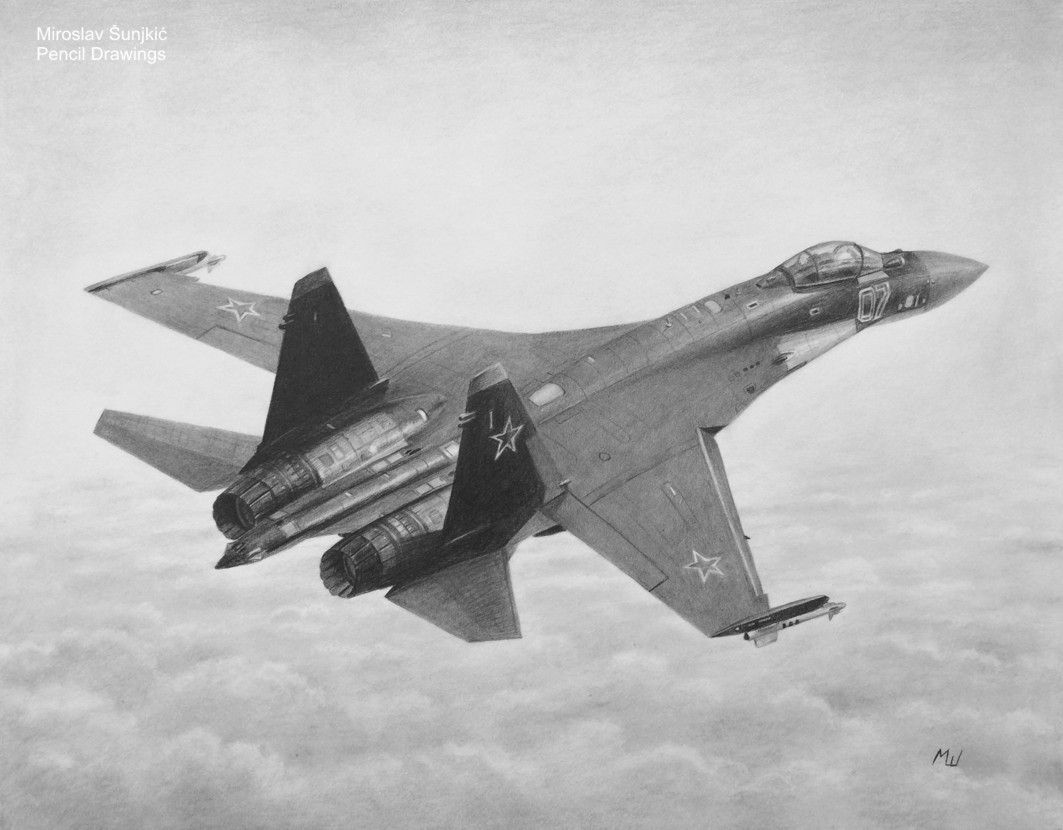 Sukhoi su 35 russian fighter plane graphite pencil drawing by miroslav sunjkic the pencil maestro su35 sukhoi russian plane fighter russia