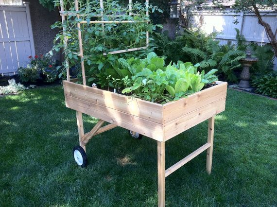 Mobile Garden Portable Raised Bed Planter By Gardentogo On Etsy 149 95 With Images Portable Raised Garden Beds Vegetable Garden Raised Beds Portable Garden