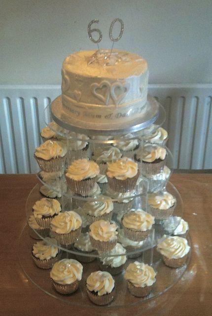 60th Anniversary Cupcake Tower Anniversary Cupcakes 60th