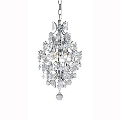 Hampton bay 3 light chrome branches pendant with crystals chrome hampton bay 3 light chrome and crystal branches pendant 1000051534 the home depot aloadofball Images