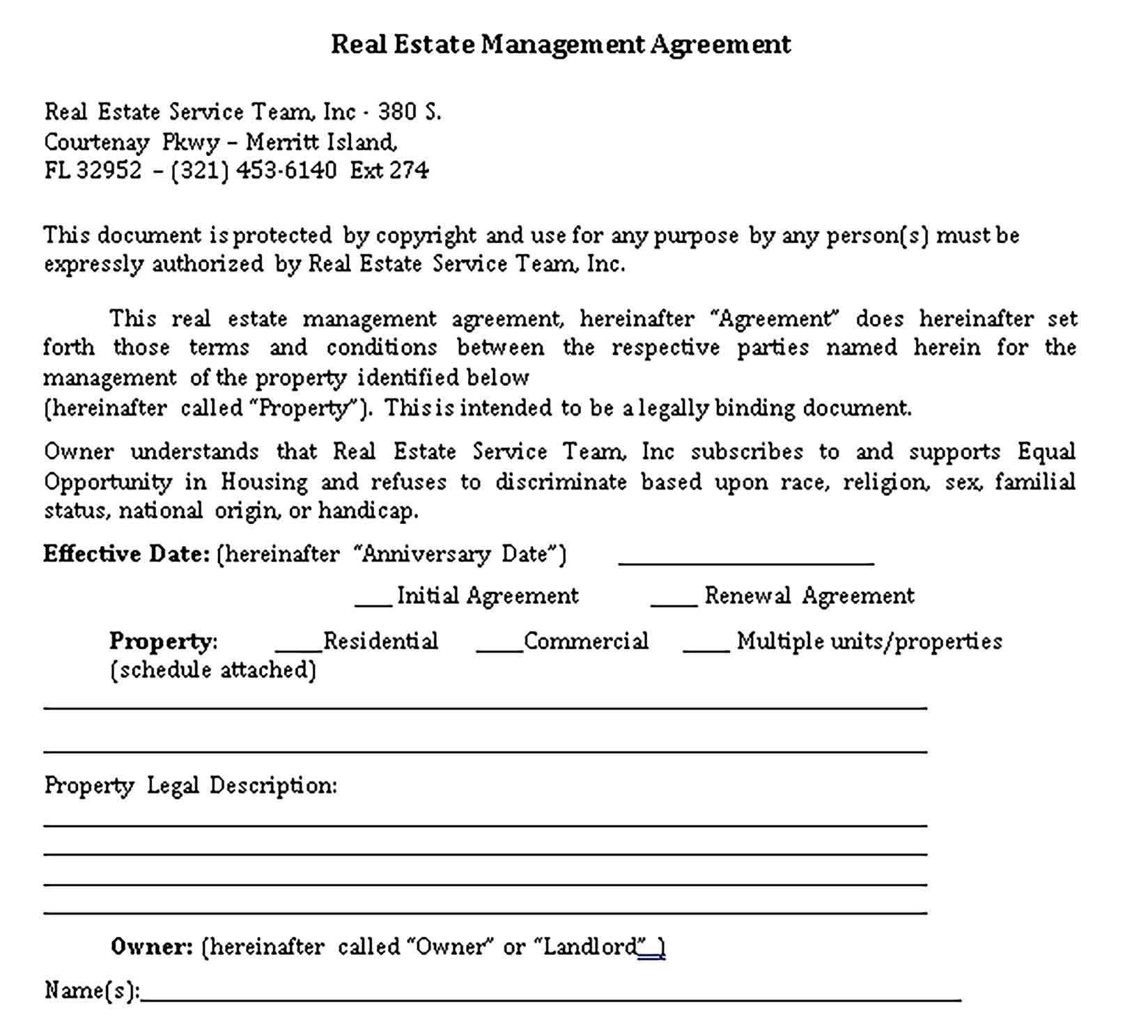 Real Estate Management Agreement Sample Template Estate Management Real Estate Management Real Estate Real estate team agreement template
