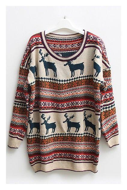 nordic print oversized knitted jumper.  love grandpa sweaters