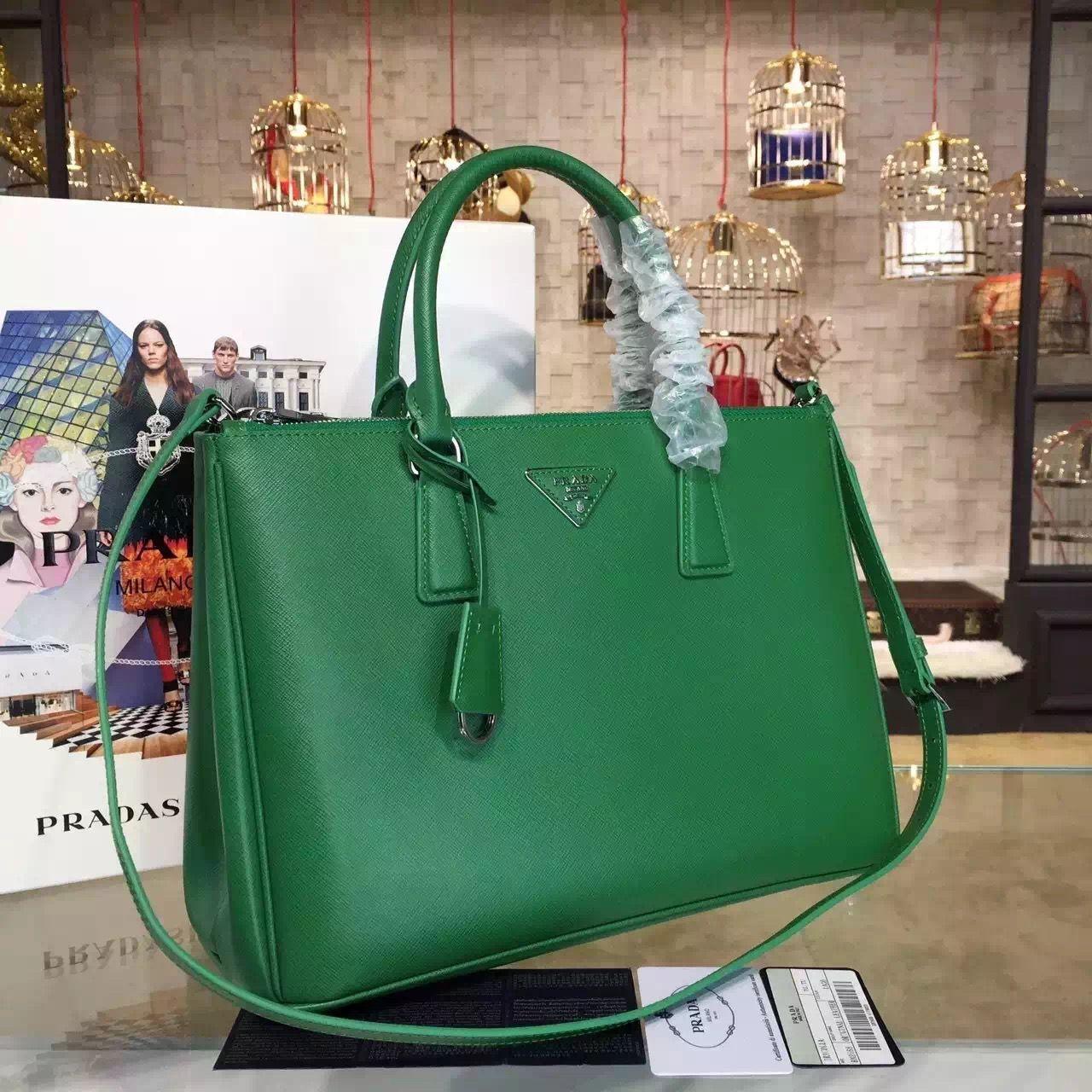 98d0f51c23b1 Prada 1BA274 Large Galleria Saffiano Leather Bag Green 2016