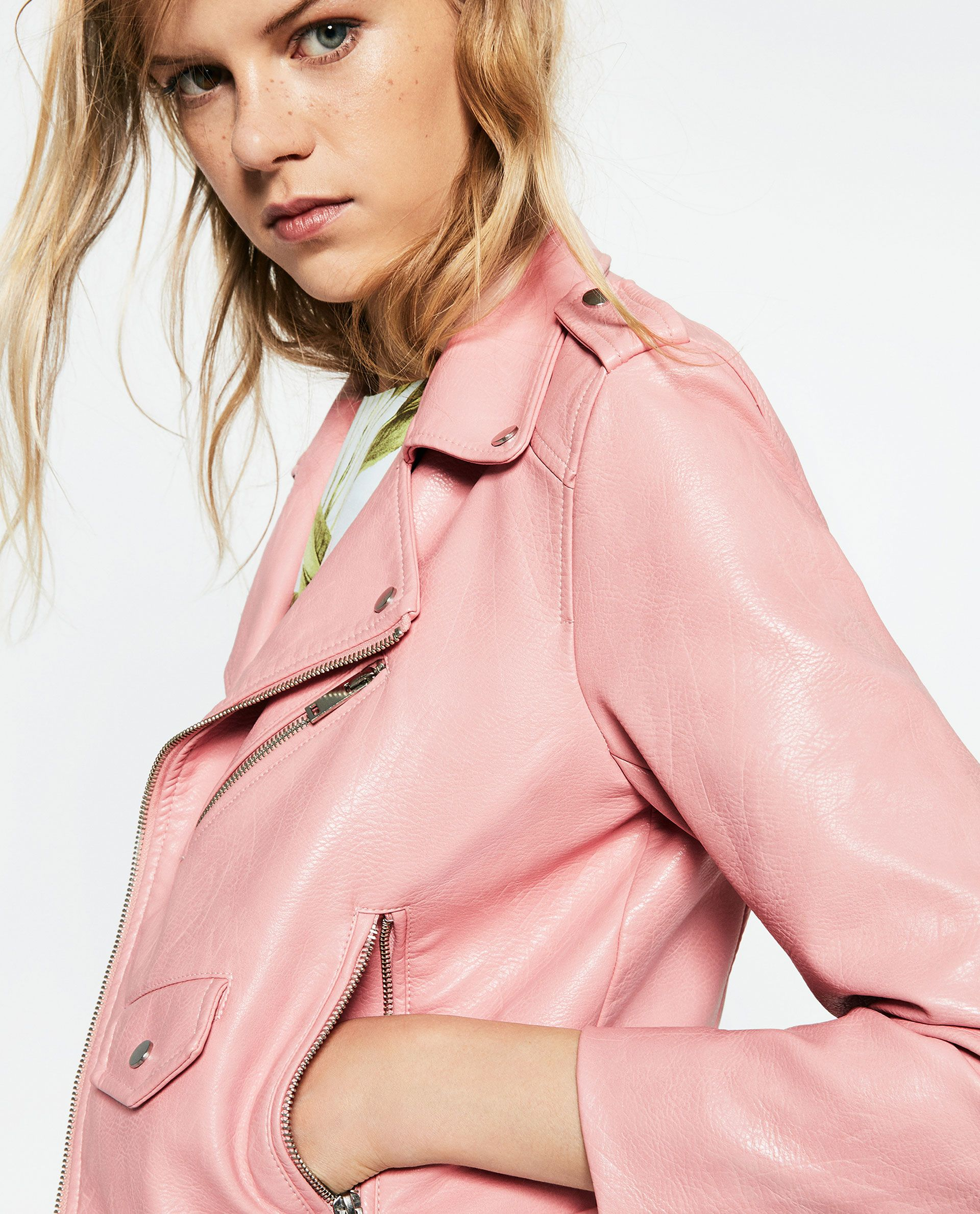 ZARA pink fauxleather jacket (With images) Leather