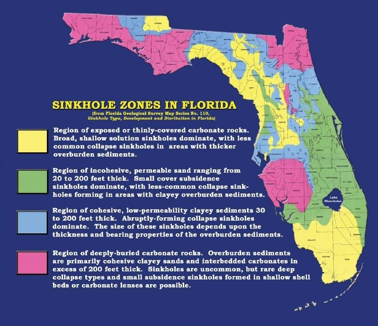 Sinkhole Map Of Florida Sinkhole Zones in Florida, from Florida Geological Survey Map