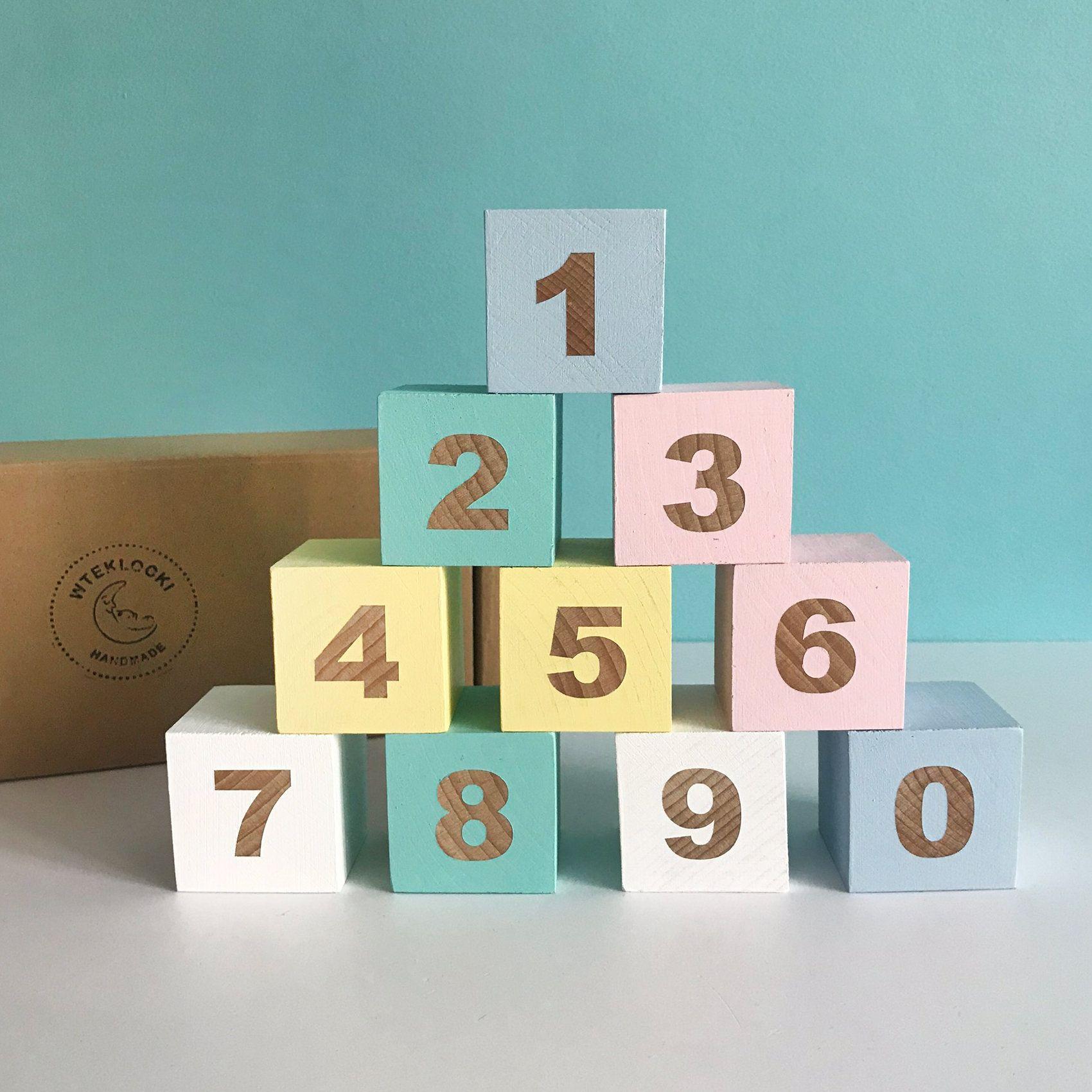 Wood Number Blocks 0 to 9 Handmade Wooden Toy Klocki