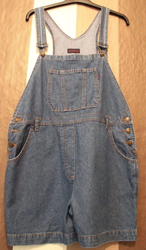 UK 16 Brooker Jeans *Rare* Ladies Shortie Blue Denim Dungarees *exc Cond*