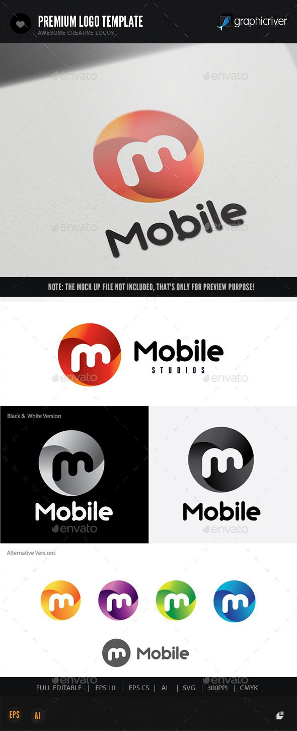 Mobile Letters Logo Design Template Vector EPS, AI Illustrator ...