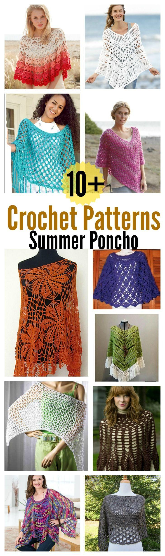 10 + Summer Poncho Free Crochet Patterns | Patrones, Verano y Ponchos
