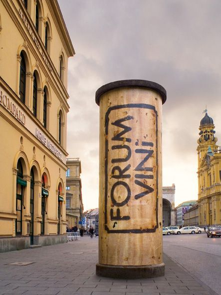 """Outdoor advertising for an annual wine trade fair called """"Forum Vini"""" in Munich, Germany. Pillars were turned into corks with the name of th..."""
