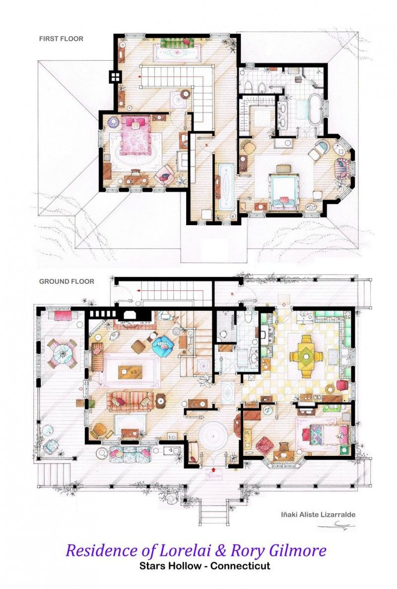 Hand Drawn TV Home Floor Plans by Iñaki Aliste Lizarralde ...