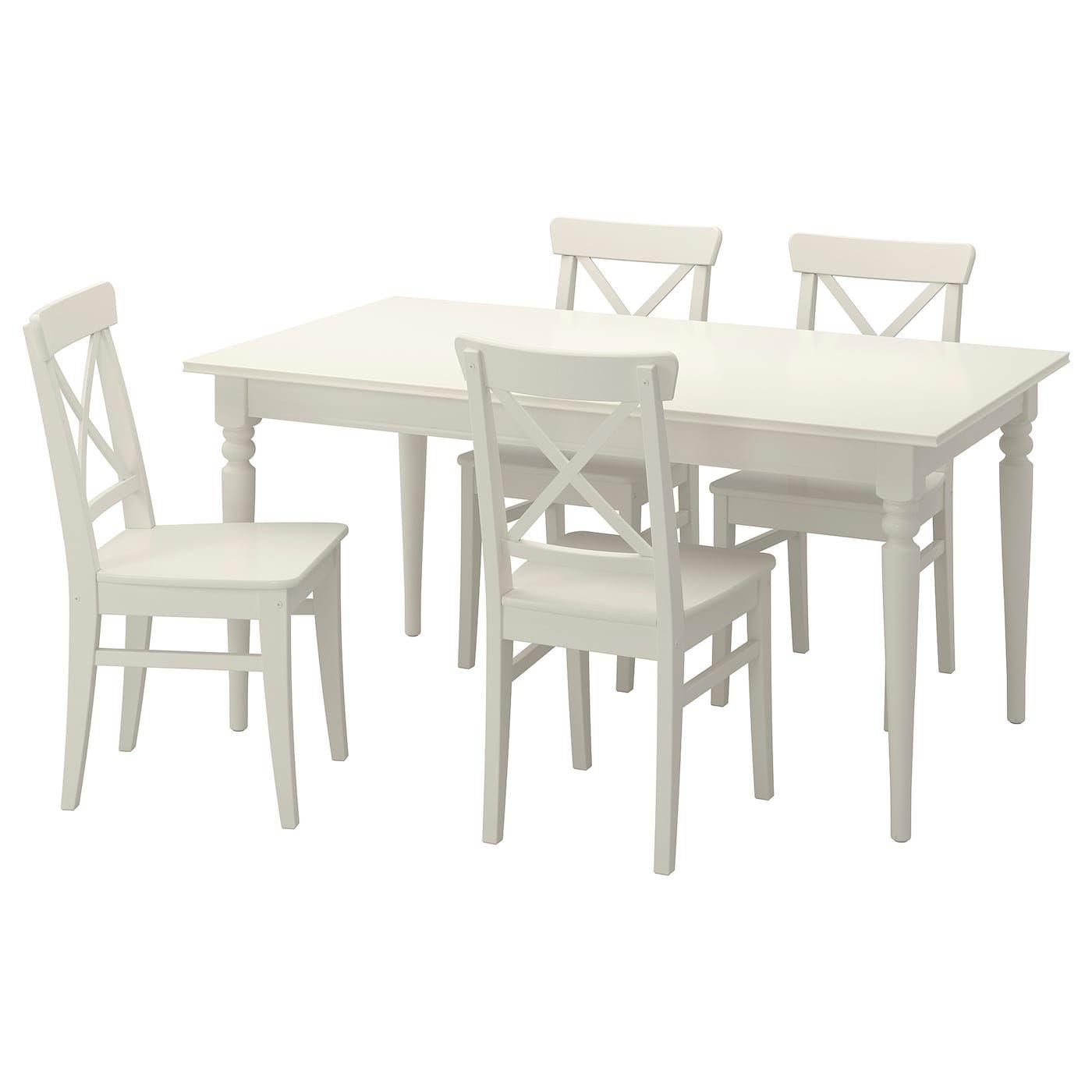 Ingatorp Ingolf Tisch Und 4 Stuhle Weiss Esszimmer Mobel