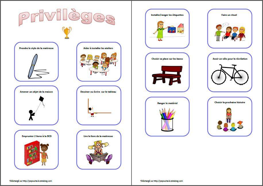 Fabuleux privilèges en maternelle | Gestion de la classe | Pinterest  NU52