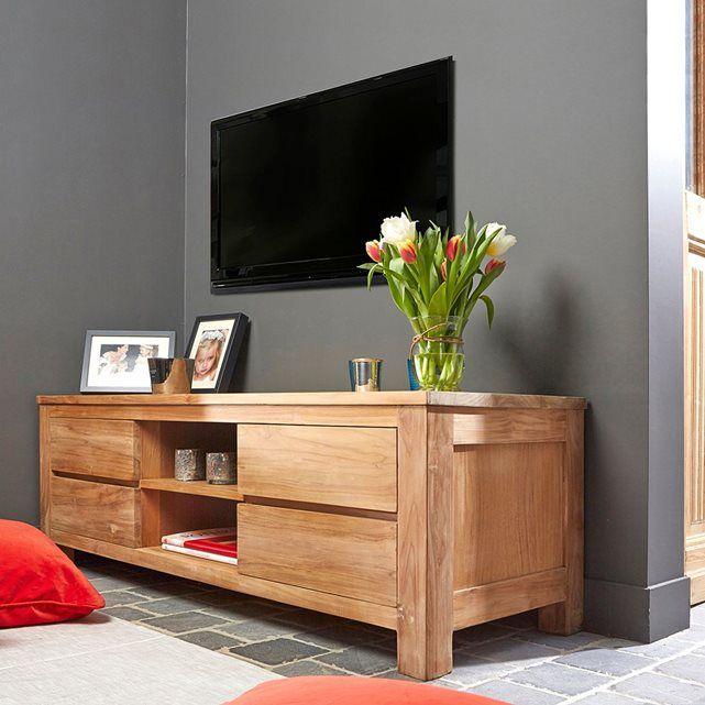 Meuble Tv En Bois De Teck 4 Tiroirs Taille Taille Unique House Design Furniture Home