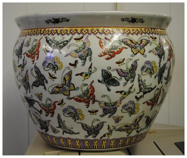 Large Chinese Fish Bowl Erfly Porcelain