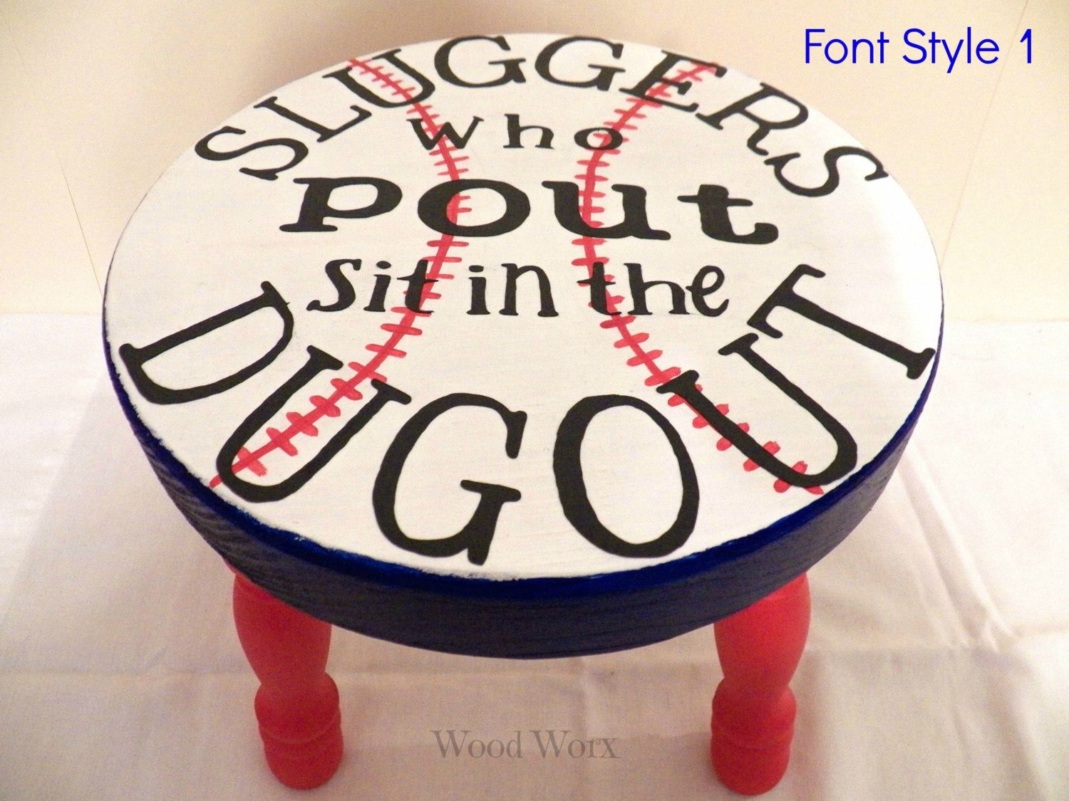 Diy make your own sand filled time out stool diy craft projects - Handmade Sluggers Who Pout Time Out Stool Toddlers Kids Hand Painted