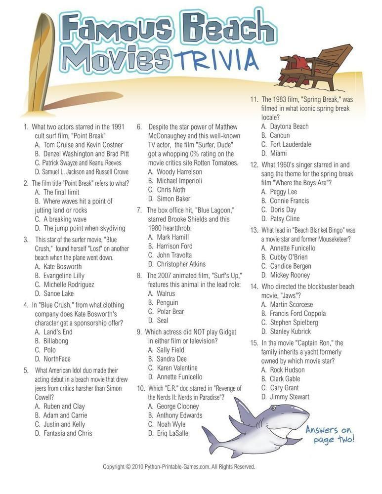 picture regarding Printable Summer Trivia Questions and Answers identified as Seaside Game titles: Famed Seashore Films Trivia, $6.95 Beach front
