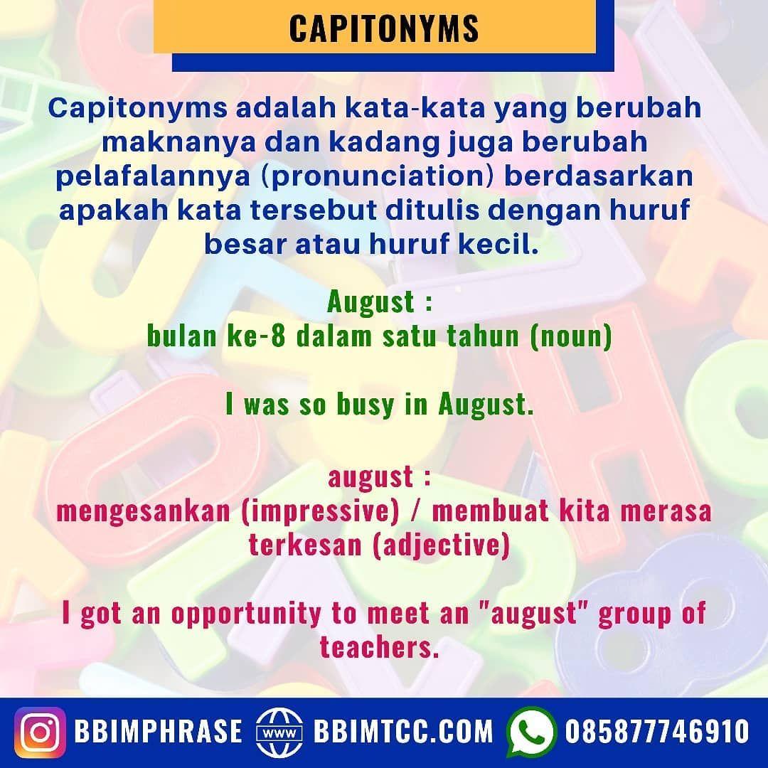 Capitonyms Selengkapnya Bisa Dilihat Di Https Www