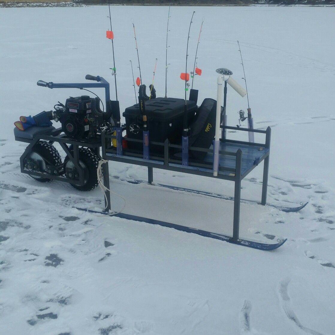 my motorized smitty sled ice fishing