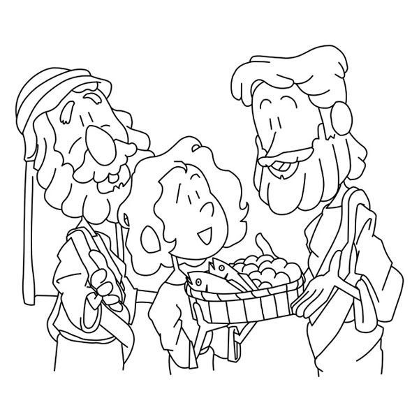 A Boy Sharing His Bread And Fish To Jesus Bible Coloring Pages