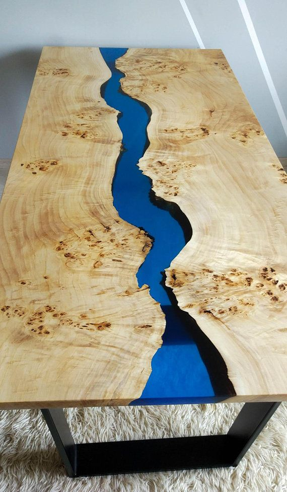 Blue Epoxy River Walnut Coffee Table In 2019 Products