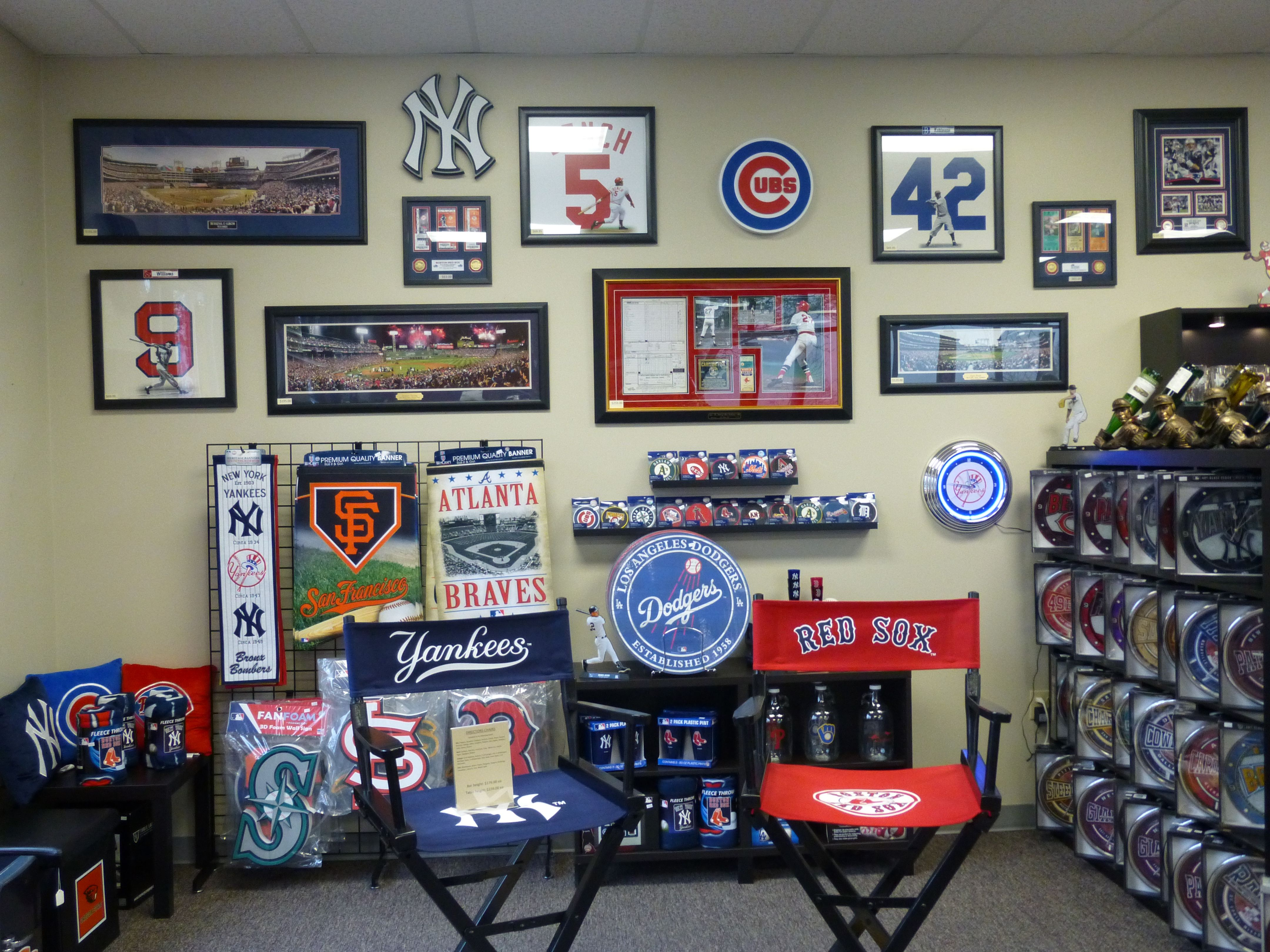 Some Of Our New Baseball Memorabilia At Northwest Man Cave Man Cave Wilsonville Gallery Wall