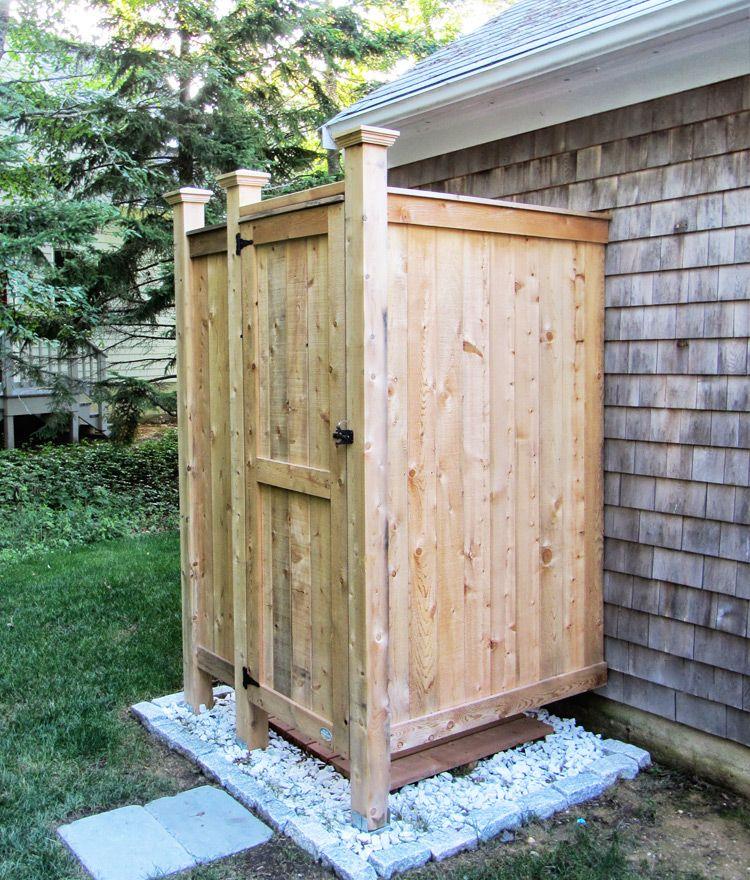 Cedar outdoor shower standard house mount outdoor