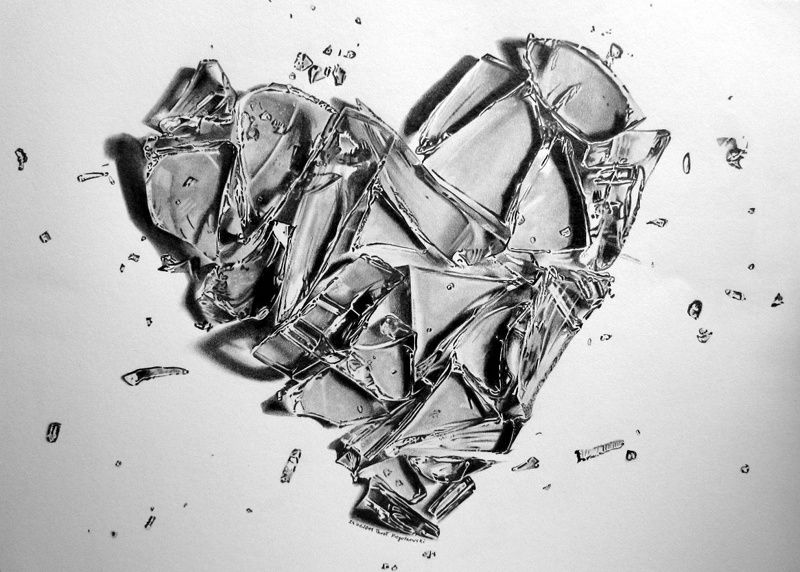 Pencil sketches of hearts broken heart by pepei on deviantart