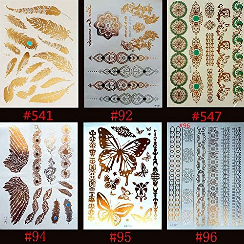 6 Sheets Tribal Metallic Flash Temporary Tattoos Over 120 Gold Body Jewelery Stickers Temporary Tatt Body Stickers Flash Tattoo Metallic Gold Temporary Tattoo