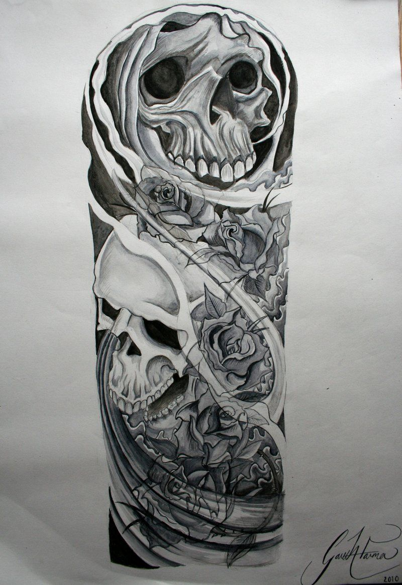 Tattoo Sleeve Sketches: Skull Half Sleeve Tattoo Drawings