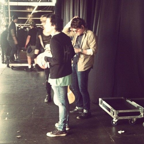 frank-iero: Last photo right before they all walked out on stage together for the very last time….. // Mikey Way, Frank Iero, Gerard Way (My Chemical Romance) Asbury Park, NJ 2012