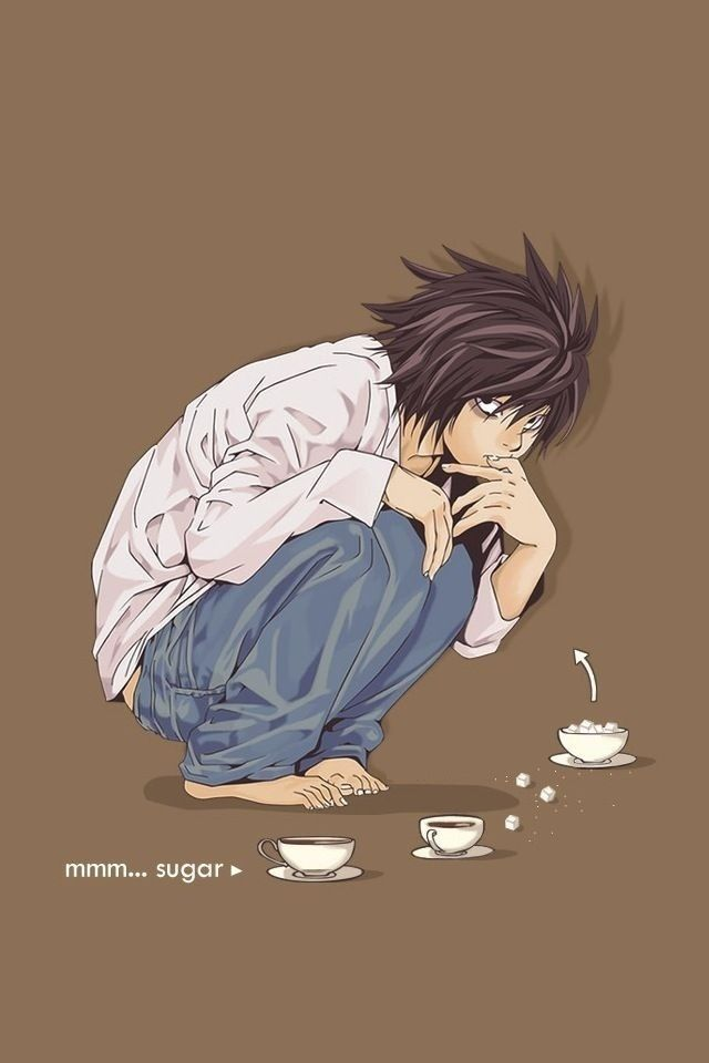 L And The Sugar Death Note Wallpaper Iphone Death Note L Anime