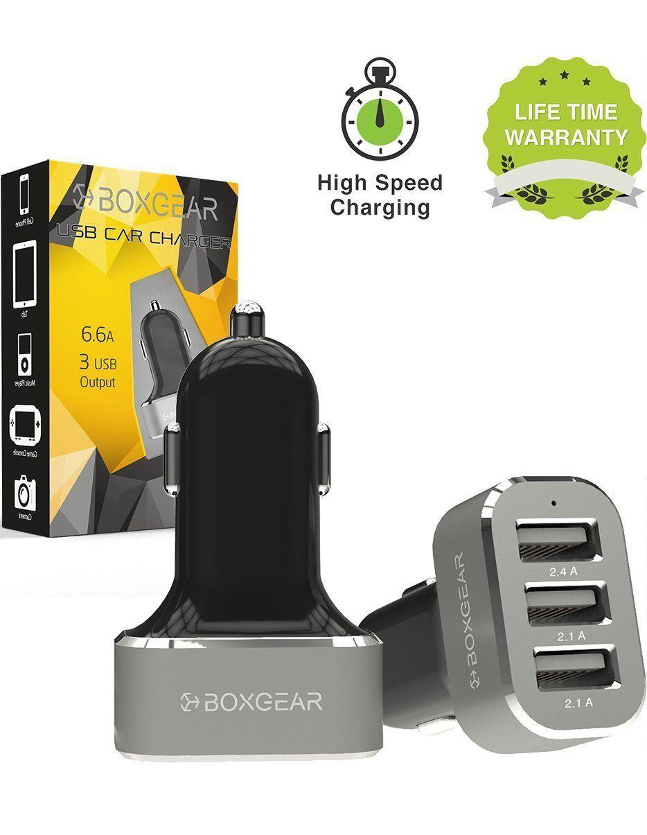 Boxgear 3 Usb Port Car Charger 66 Amp Rapid Tri Large Ampamp 2 Fast
