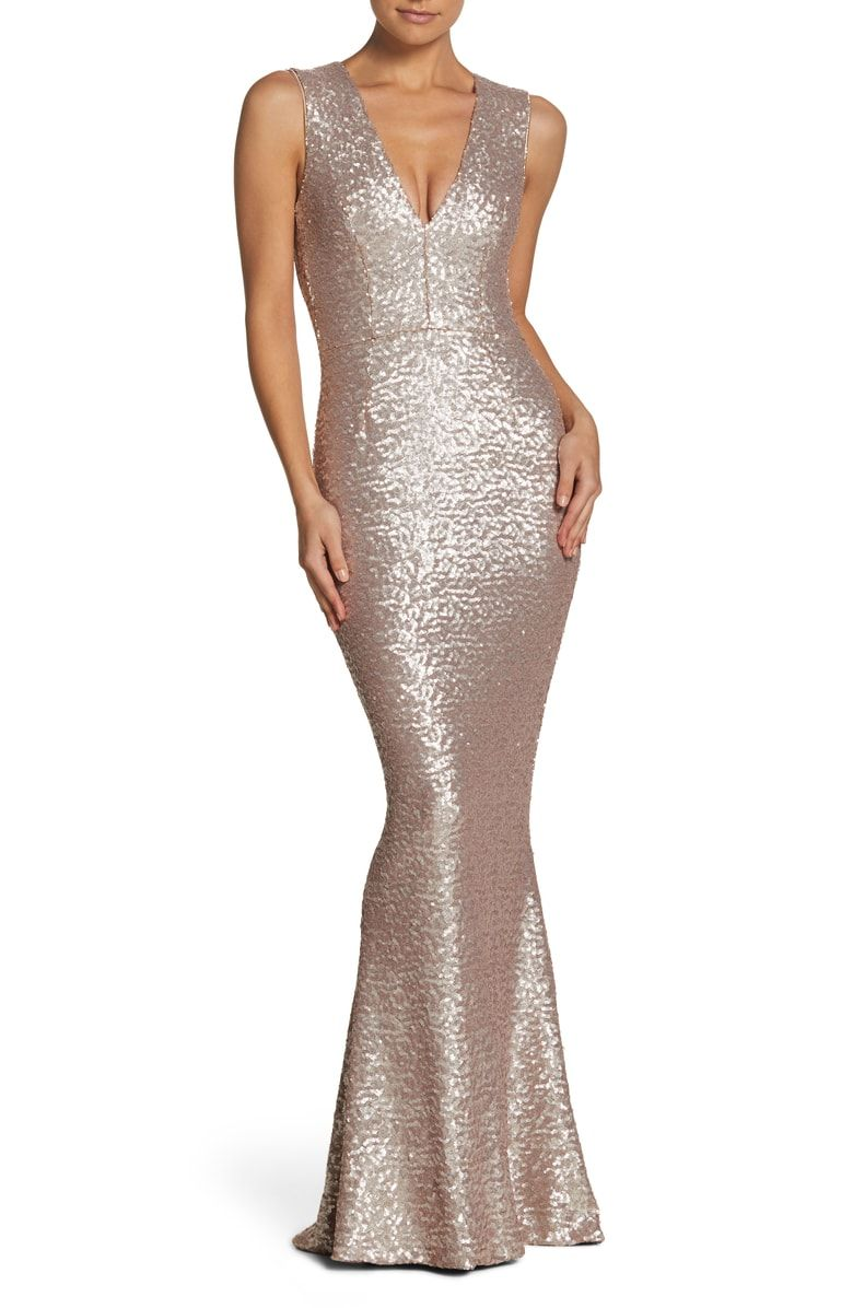 992381f5d66 Free shipping and returns on Dress the Population Karina Plunge Mermaid Gown  at Nordstrom.com. Sparkling allover sequins elevate a glamorous