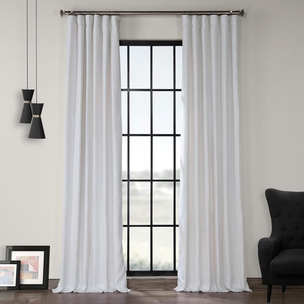 Exclusive Fabrics Furnishings Crisp White French Linen Curtain 50 In W X 84 In L Ln Xs1704 84 Half Price Drapes Linen Curtain Panels Panel Curtains