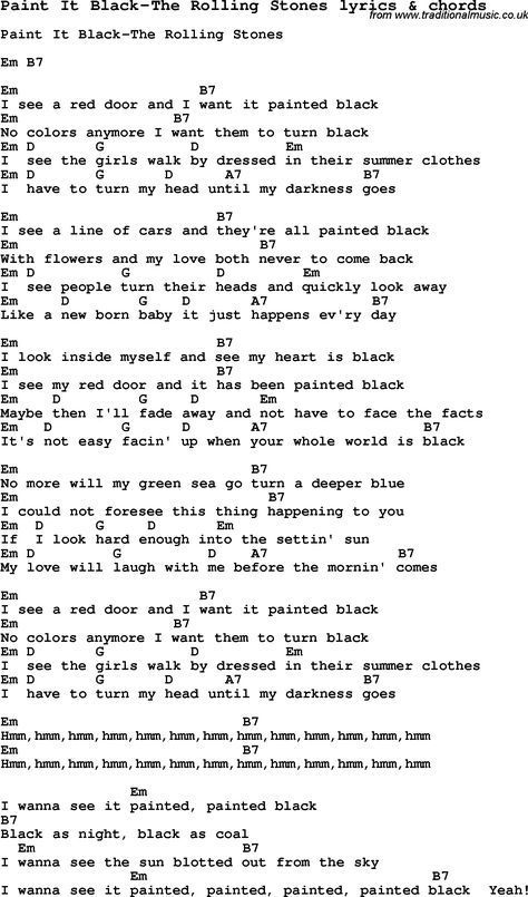 Love Song Lyrics for: Paint It Black-The Rolling Stones with chords ...