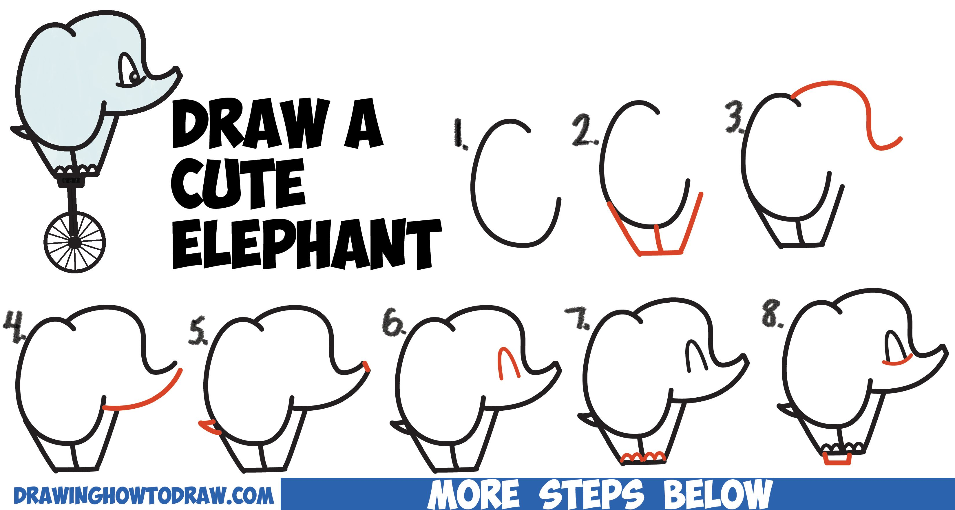 How To Draw A Cute Cartoon Baby Elephant Riding A Unicycle From Alphabet Letters Easy Step By Step Drawing Lesson For Kids How To Draw Step By Step Drawing Tu