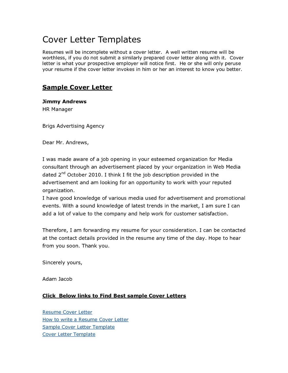 23 Cover Letter Template Free Invoice Templates Resume Examples