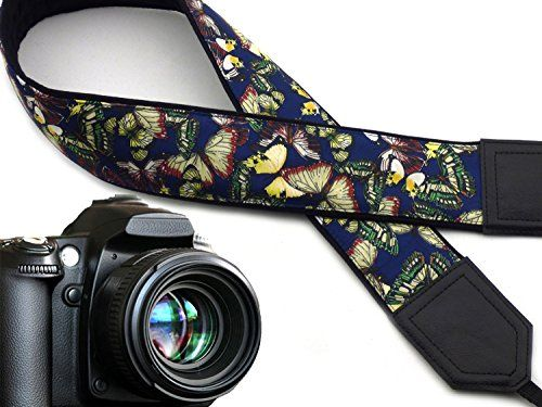 Silky butterflies camera strap Dark blue camera strap DSLR Camera accessories by InTePro code 00253 * Click image for more details.